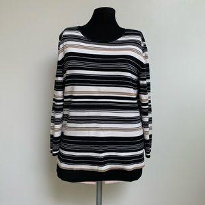 Casual Corner Black Tan Ivory Striped Sweater